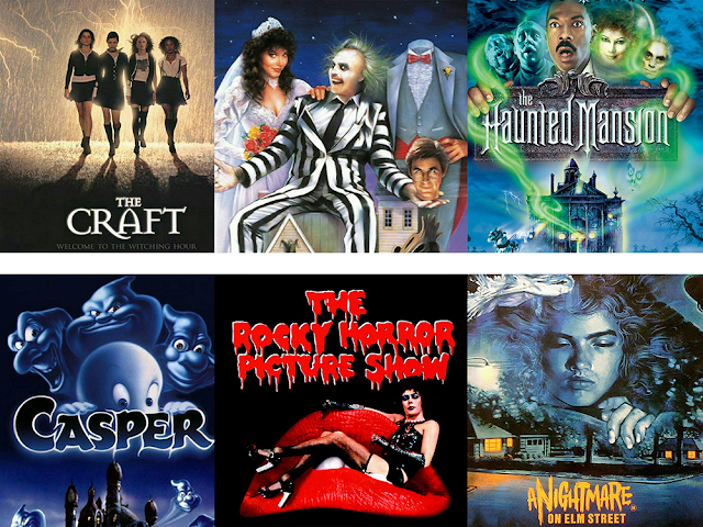 Movie posters for: The Craft, Beetle Juice, The Haunted Mansion, Casper, Rocky Horror Picture Show, and A Nightmare On Elm Street