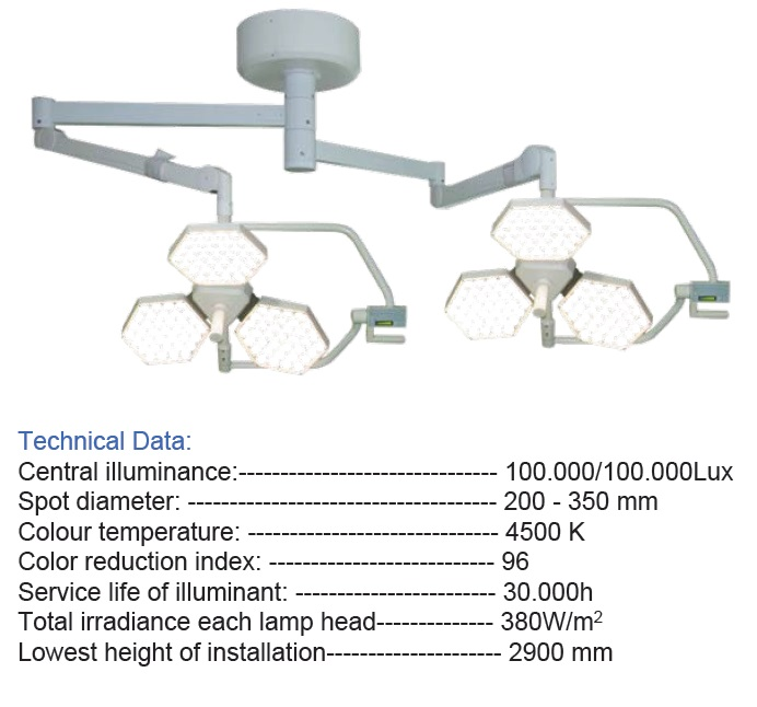 SY02-LED3+3 SHADPWLESS OPERATING LAMP
