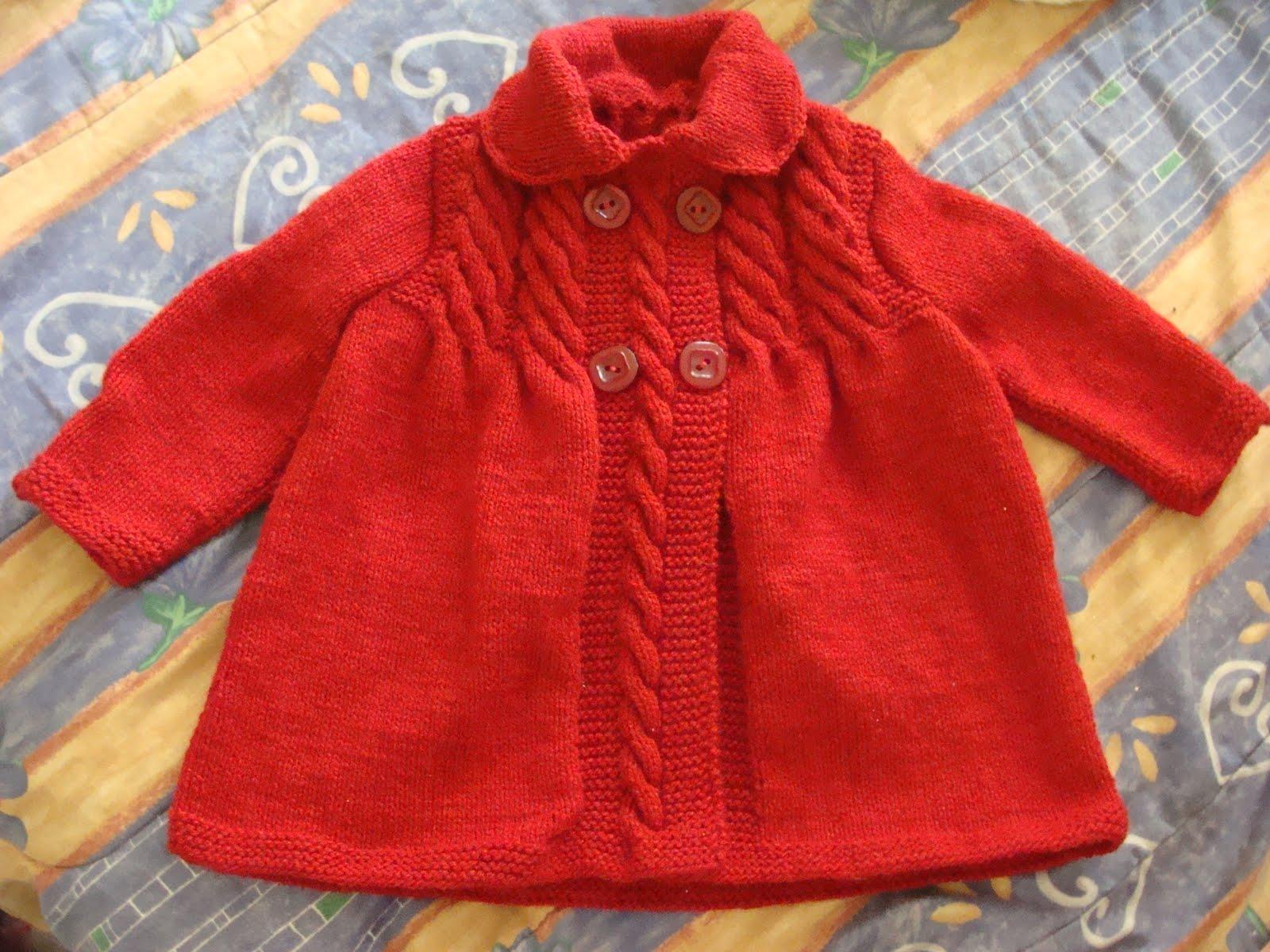 Abrigo Rojo De Lana Ni  A 2 3 A  Os  Tejido A Palillo