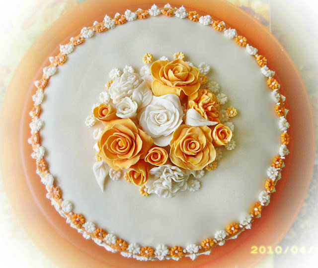 (PDZ)Torta rose e fiori arancione