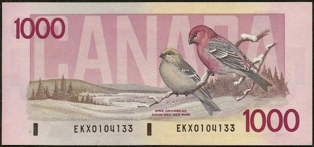 Canada money currency 1000 Dollars banknote 1988 Birds, pine grosbeaks