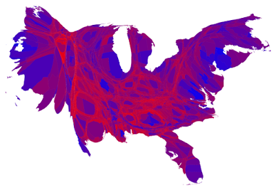 Cartogram of US 2012 election results by county colored by popular vote