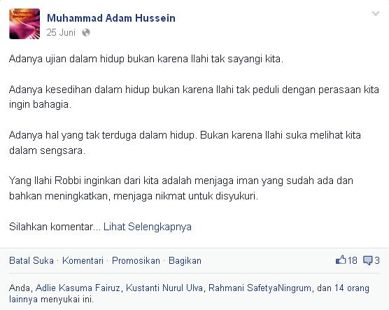 Bukti Kata Motivasi Muhammad Adam Hussein, S.Pd - Pertama