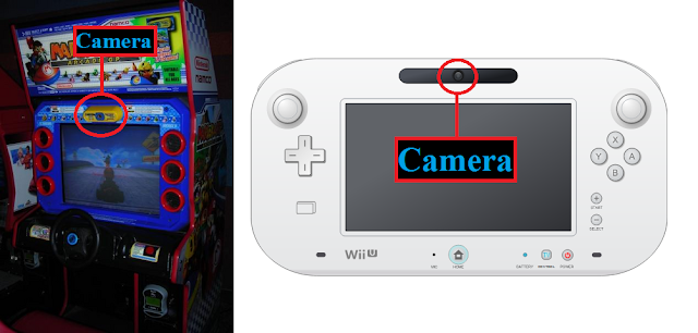 Picture of cameras on Mario Kart Arcade and Wii U GamePad