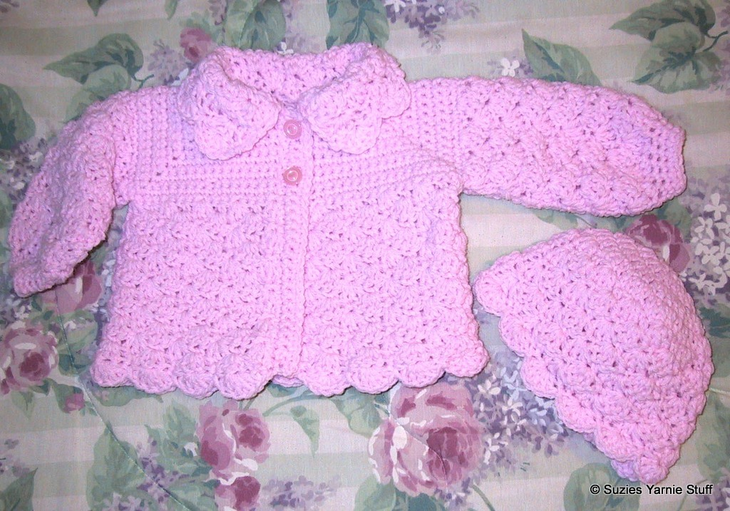 Suzies Stuff Suzies Pretty Shells Baby Sweater And Hat C