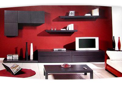 Sala  preta, branca e vermelha