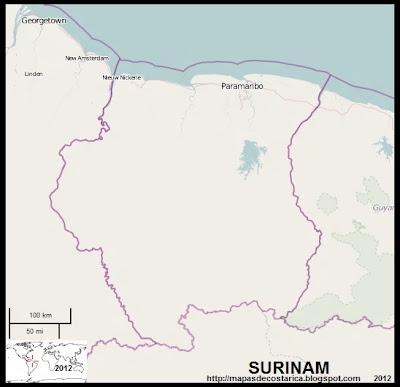 Mapa de SURINAM, OpenStreetMap