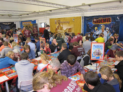 Essen Spiel 2011 Day 3 - One of the many large areas where you can play demo games in Hall 12 (1 of 11 exhibition Halls