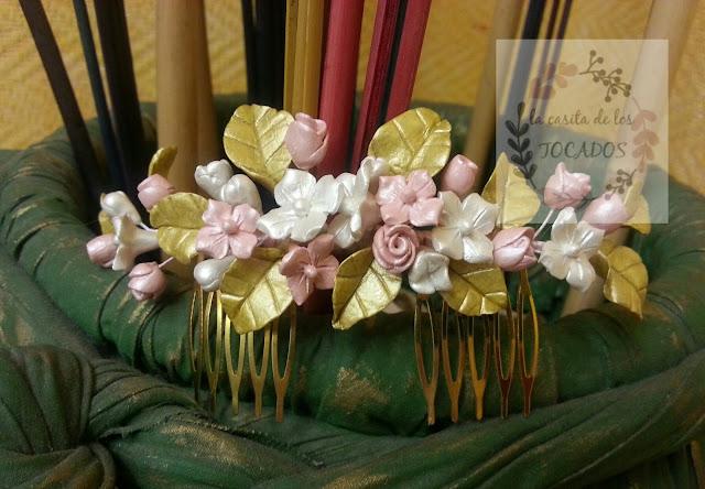 peineta artesanal para novia vintage en porcelana fría