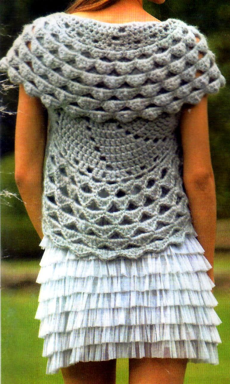 bolero tejido en crochet para un sutil abrigo