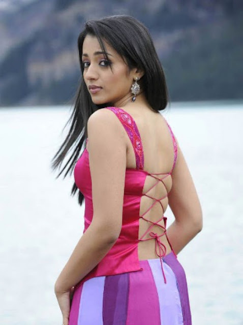 Tamil Actress Trisha Spicy Backless photo in Red Dress