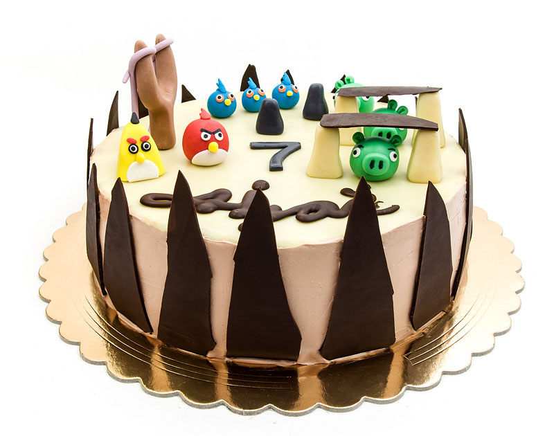 Angry birds chococlate cake fondant toppers front part