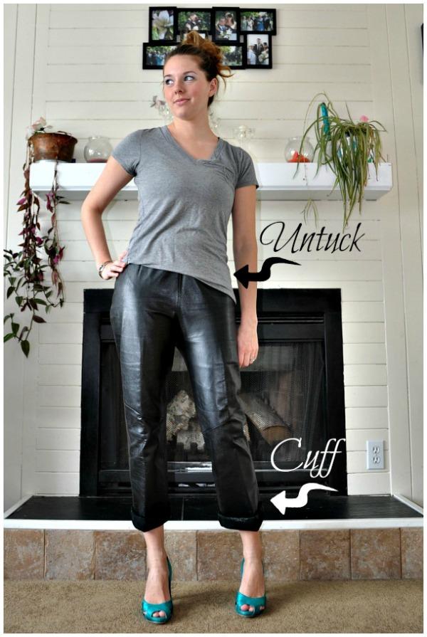 Cuffed Leather Boyfriend Pants