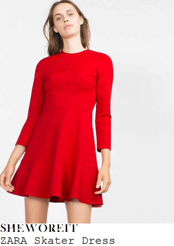 jessica-wright-red-three-quarter-sleeve-frill-hem-skater-mini-dress