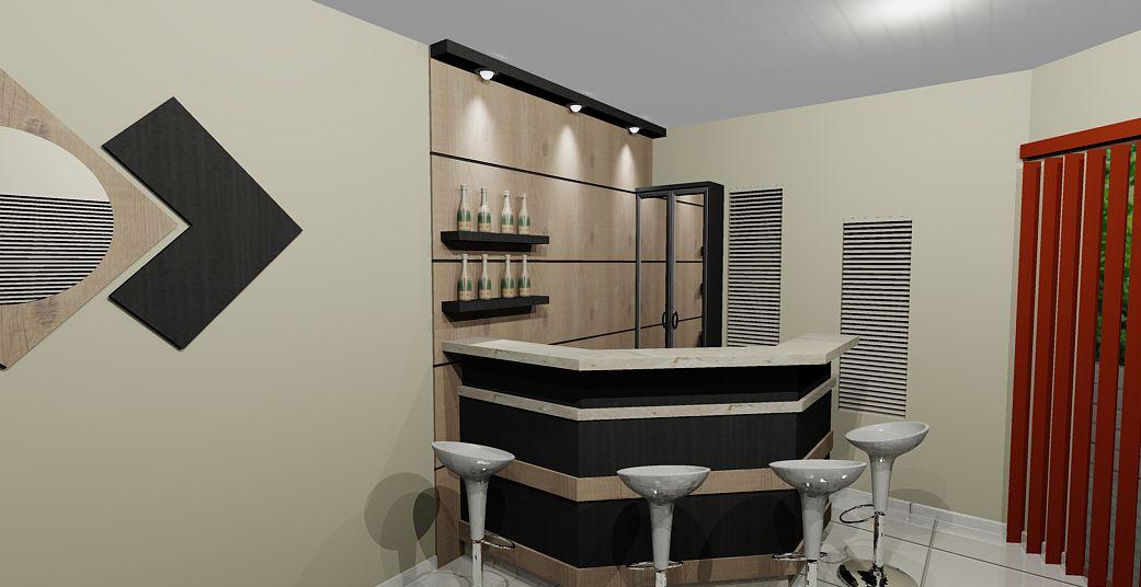 Sala De Tv Com Barzinho ~ Sala com canto bar fabricada em MDF Antiqua com Palisandra bahia