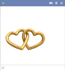 Chained golden heart rings for Facebook
