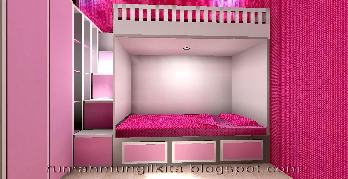 rumah lebar 4 meter, 3 kamar tidur, ruang tidur anak perempuan