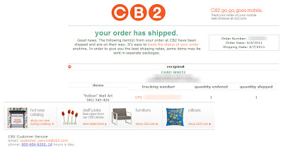 Click to view this June 2011 CB2 shipping notification email full-sized