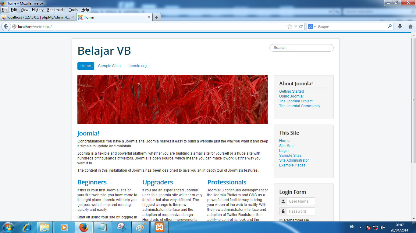 Preview Install Sample Data : Learn Joomla English Joomla 3.X | Belajar Joomla!