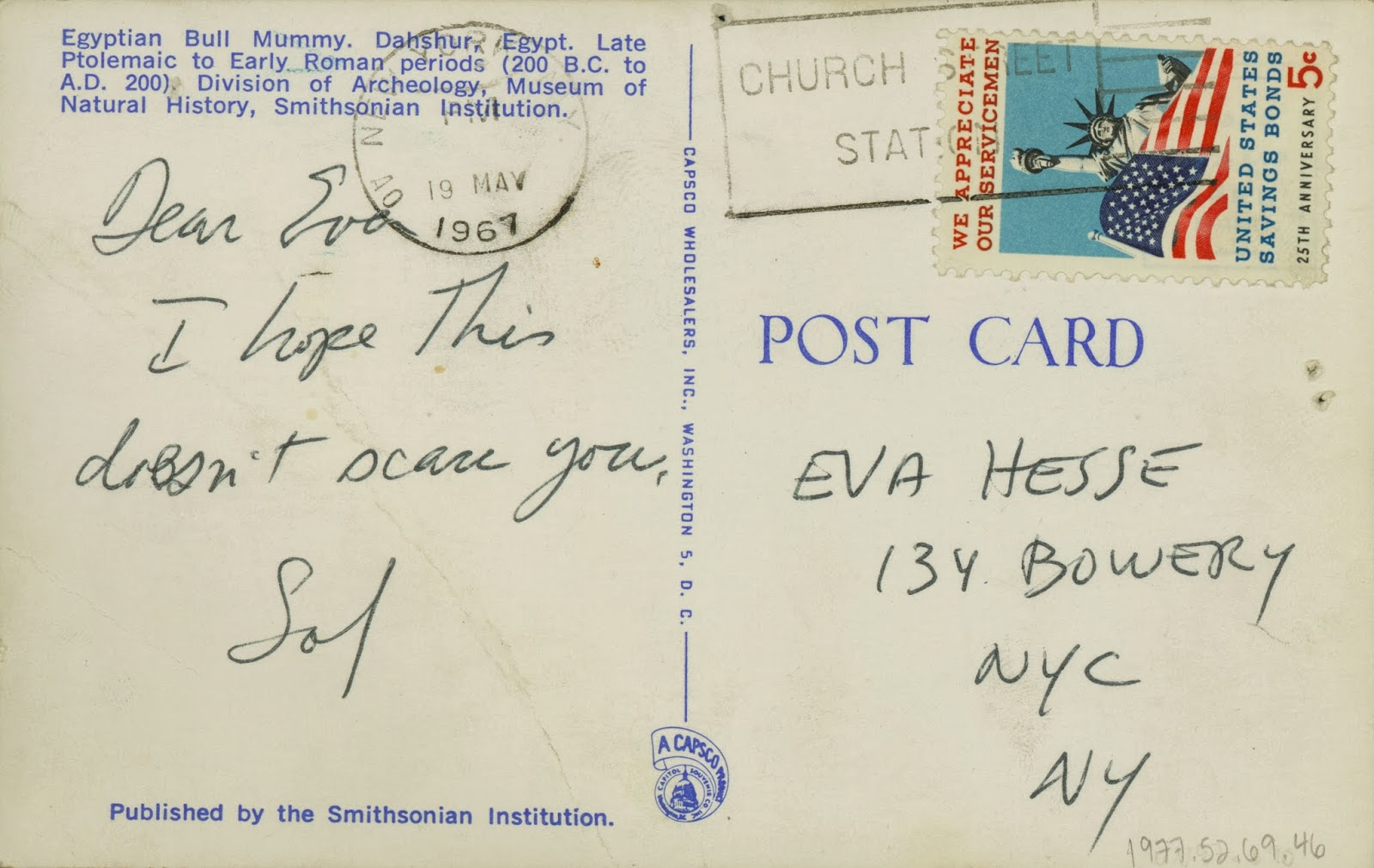 Postcard from Sol LeWitt to Eva Hesse