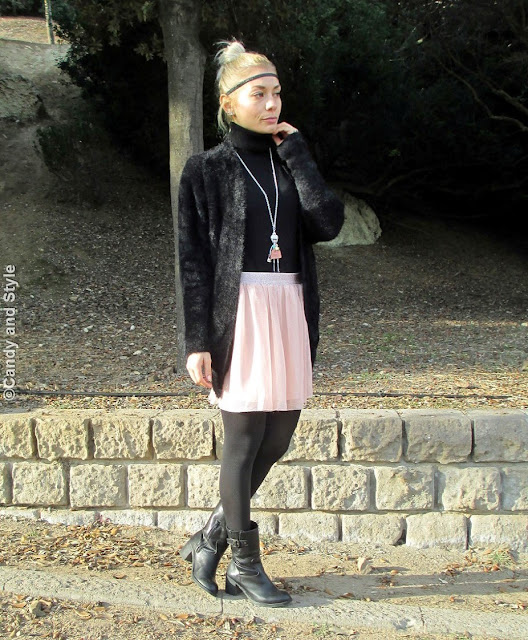 GlitterHEadband+FuzzyJacket+TulleSkirt+BikerBoots+PinkLips+TopKnot - Lilli Candy and Style Fashion Blog