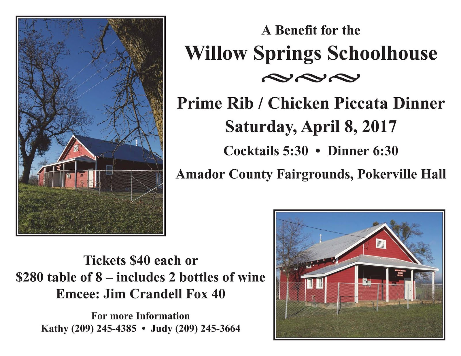 Willow Springs Schoolhouse Dinner Fundraiser - Sat Apr 8