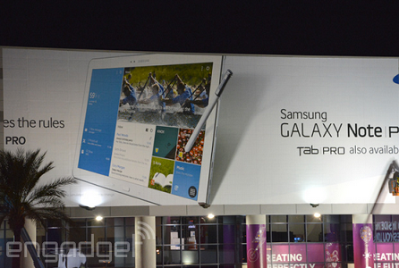 Samsung Galaxy Note Pro and Galaxy Tab Pro outed via banner hanging at CES
