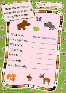 wild animals making plural sentences English worksheet