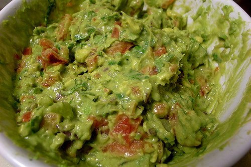 Homemade guacamole from a Mexican kitchen