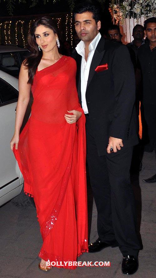 Kareena Kapoor and Karan Johar - Rohit Shetty&#39;s sister&#39;s reception pics