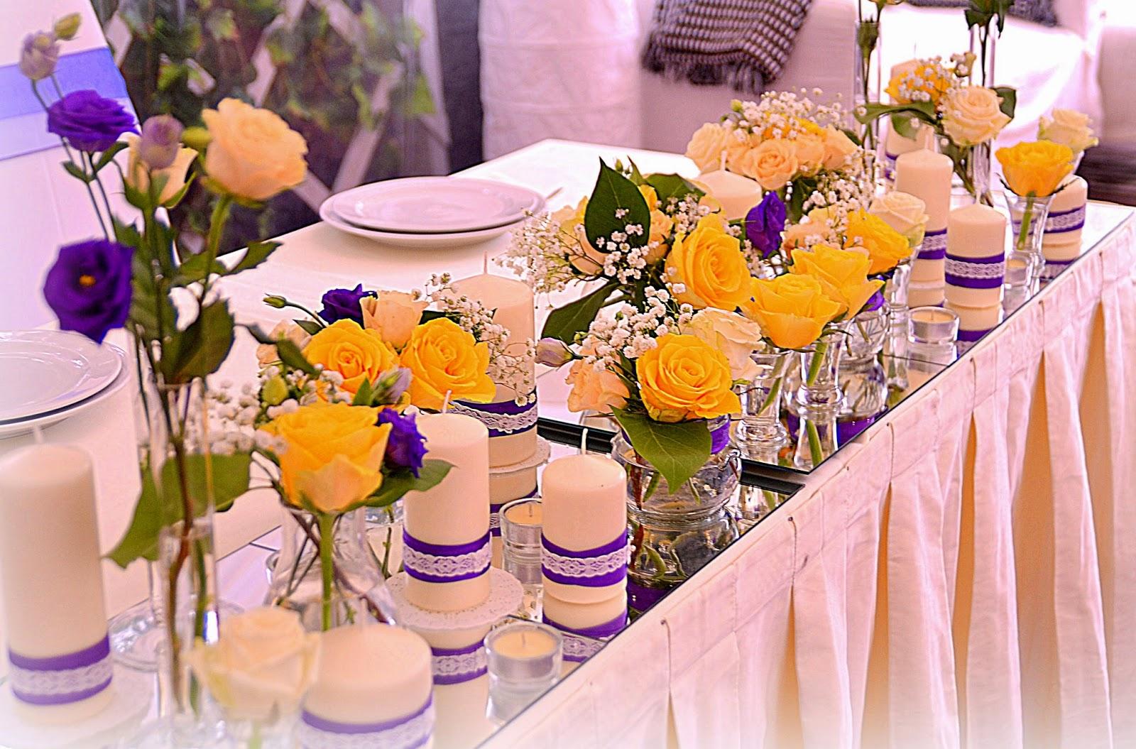 Украшение стола цветами 99