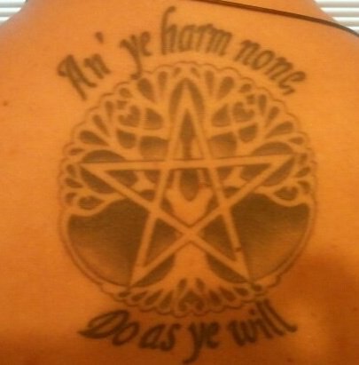 Scripture tattoos designs traditional wiccan tattoos and for Witch symbols tattoos