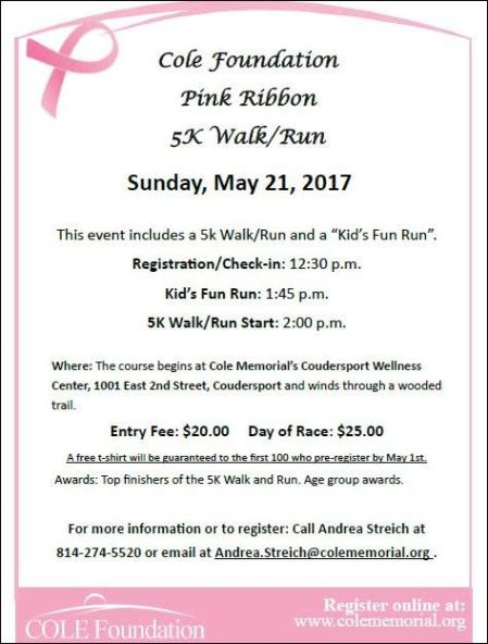 5-21 Cole Foundation Pink Ribbon 5K