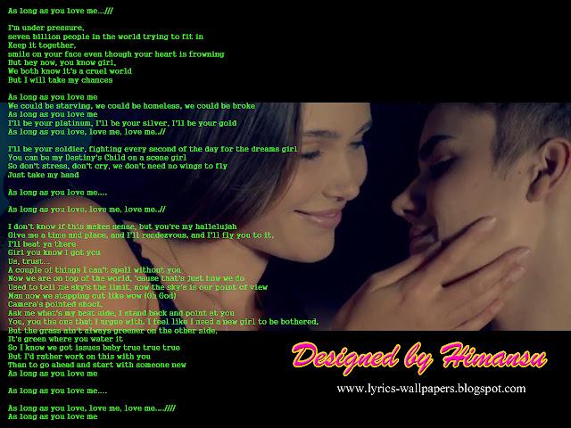 Justin Bieber Love Me Wallpaper : Lyrics Wallpapers: Justin Bieber - As Long As You Love Me