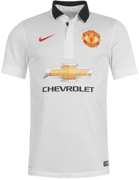 Baju Seak Bola Terbaru Mancheste United Away Putih Chevrolet Untuk Musim 2014 - 2015