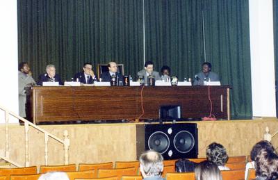 Justo Bolekia, Íñigo de Aranzadi, José U. Martínez Carreras, Basilio Rodríguez, José Ramón Trujillo, Paco Zamora y Mbuji Kabunda Badi