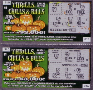 Kansas Thrills, Chills & Bills lottery tickets