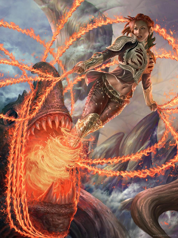 illustration de John Silva représentant une guerrière terrassant un requin géant dans une déluge de feu et de métal