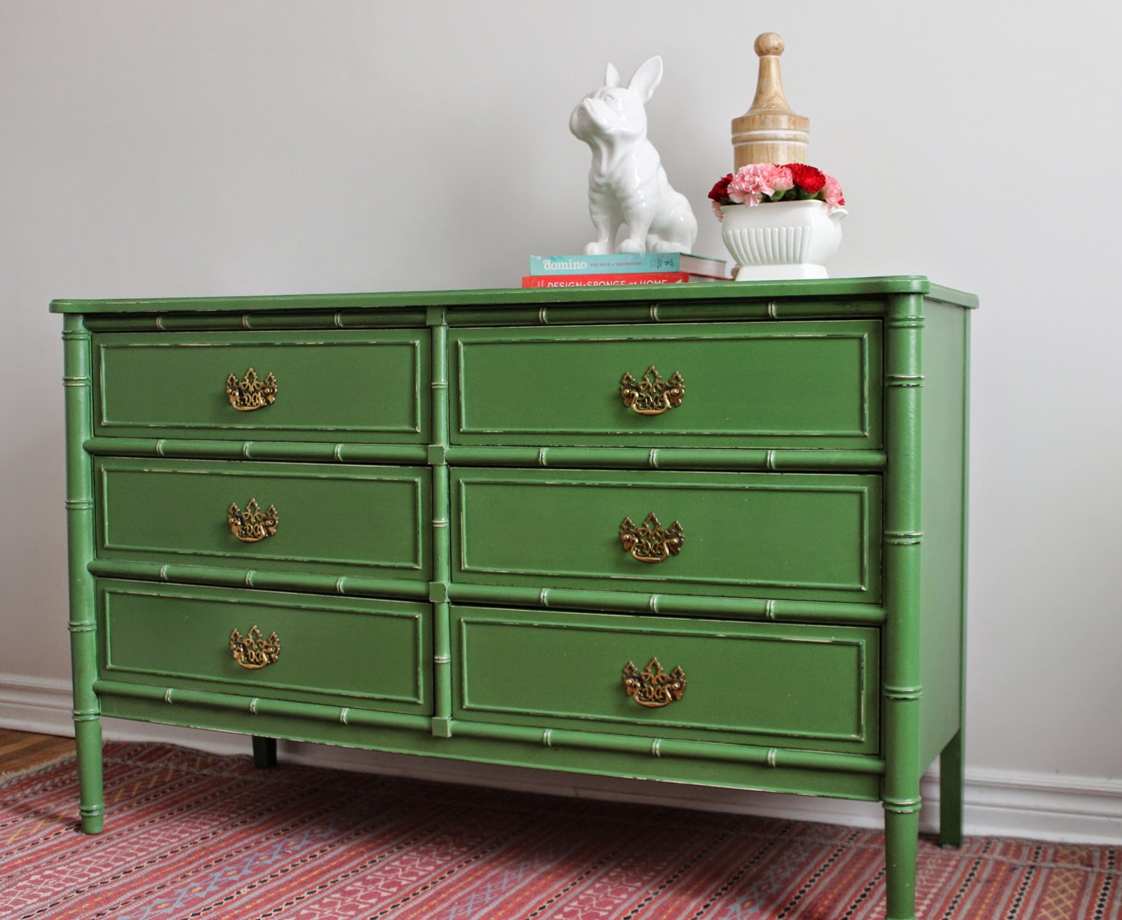 New Reveal Green Faux Bamboo Dresser 1 Of 4