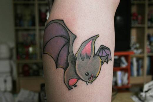 Above: A Cute Baby Bat Cartoon Tattoo, For A Humorous Gothic Effect
