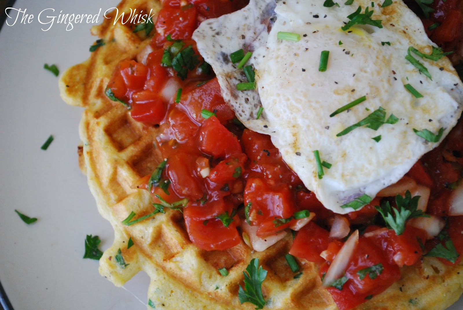 Savory Cornmeal and Chive Waffles with Salsa and Eggs - The Gingered ...
