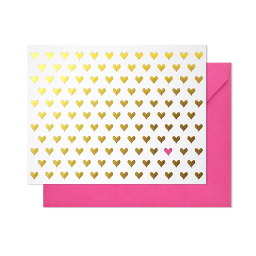 hearts note card - pink + gold