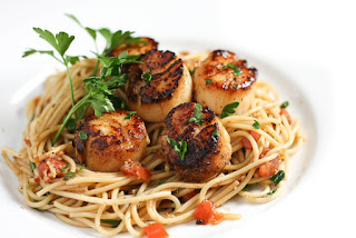 Picture of Scallop Bruschetta Spaghetti on white plate