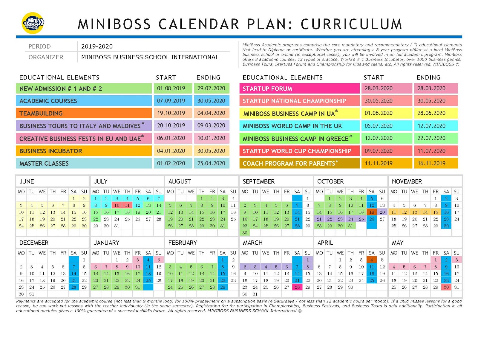 Календарный план Учебного года 2019-2020