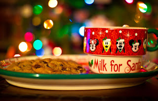 Image of Cookies and Milk by the Christmas tree