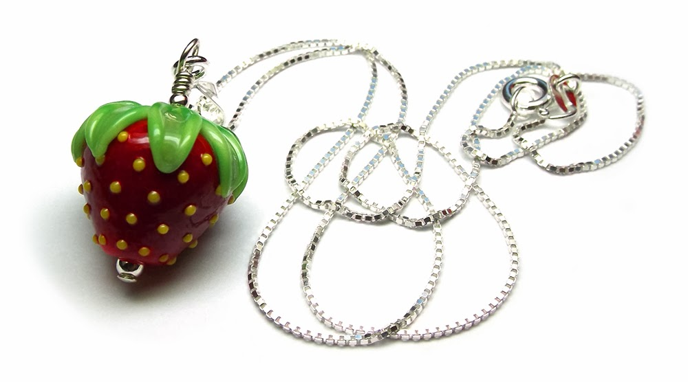 Lampwork glass strawberry bead necklace