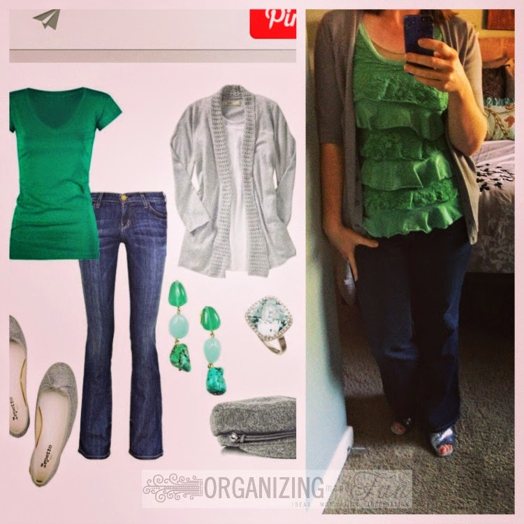 Find outfits from your own closet through Pinterest:: OrganizingMadeFun.com -- green ruffled top, gray cardigan, jeans