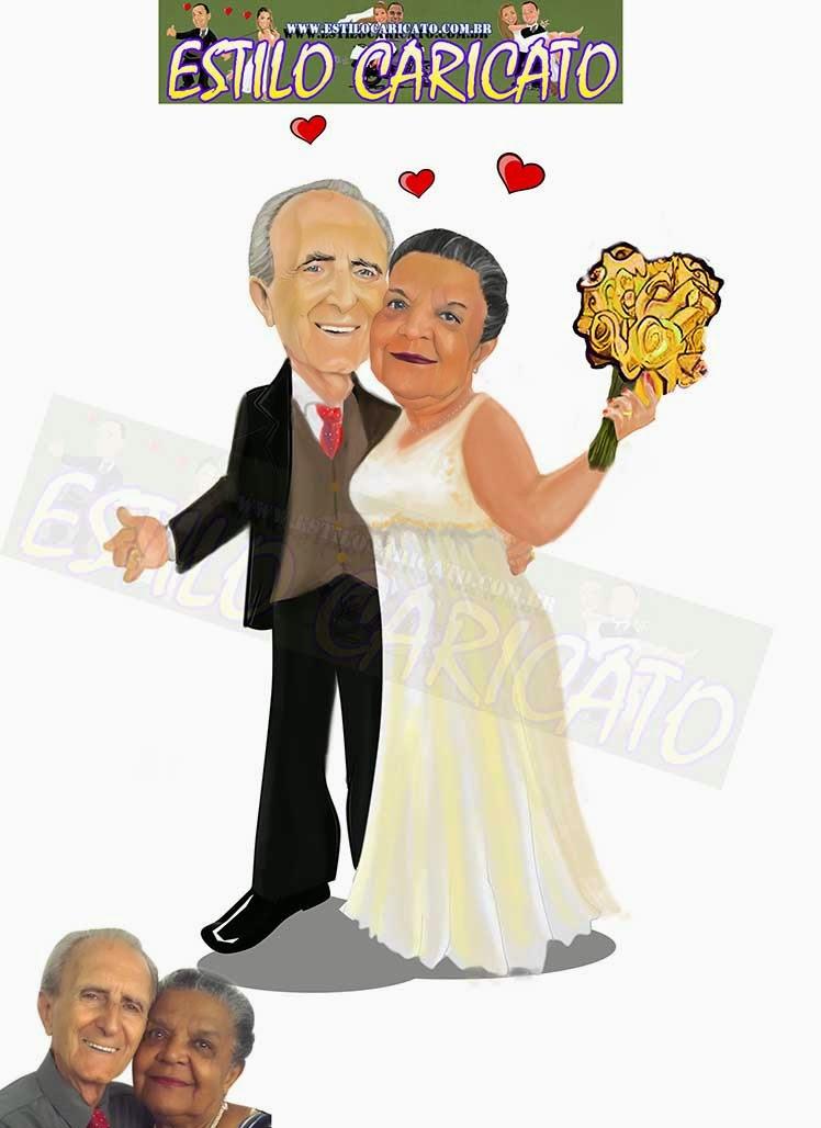 Caricatura bodas de ouro