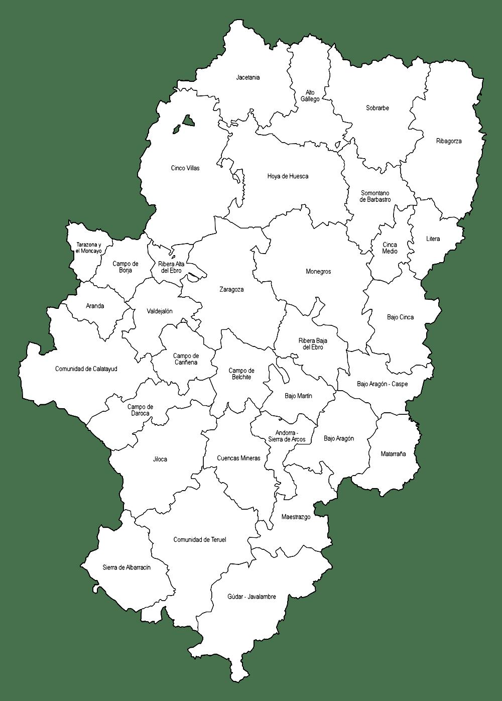Mapa de comarcas de Aragon para imprimir