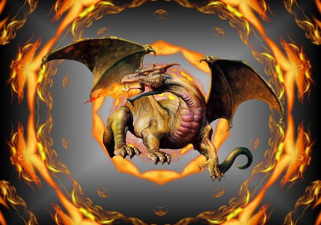 Огненный Дракон в огне танцует